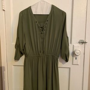 Olive High-low dress with  tie-bust